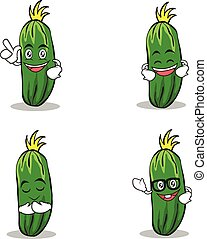 Set of cucumber character cartoon collection