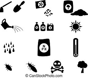 Set of cultivation icons in silhouette style
