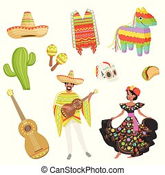 Set of cultural symbols Mexico. Sombrero, cactus, poncho, maracas, taco, pinata, guitar, skull. Hispanic man and woman in traditional costumes. Flat vector design