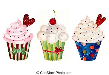 Set of cupcake.  - Artwork. Watercolors on paper