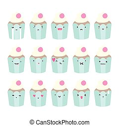 Set of cupcake emoji.