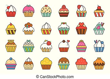 set of cupcake in various style, filled outline icon
