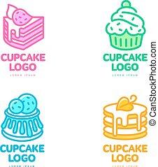 Set of cupcake logos for bakery, coffee shop, cake store