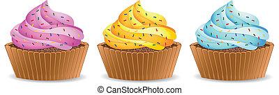 Set of cupcake vector illustration