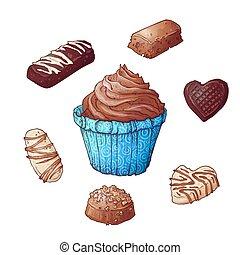 Set of cupcakes chocolates, hand drawing. Vector