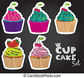 set of cupcakes of different styles and colors