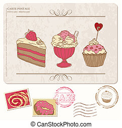 Set of cupcakes on old postcard with stamps - for design and scrapbooking