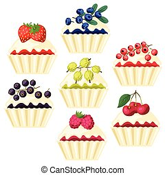 Set of cupcakes with various berry filling.