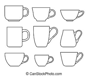 Set of cups icons on a white background