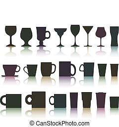 set of cups, mugs and glasses - vector set of cups, mugs and...