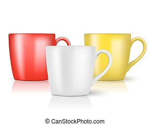 set of cups on white