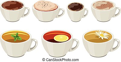 Set of cups with hot drinks isolated on white backrground