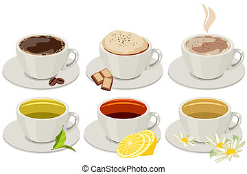 Set of cups with hot drinks. No gradients, no meshes