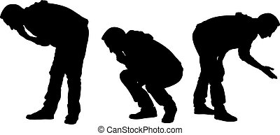 Set of curious men silhouettes isolated on white