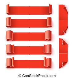 Set of curled red paper banners with shadows on white background