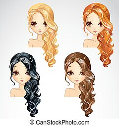 Set Of Curly Long Hair - Vector illustration of beautiful...