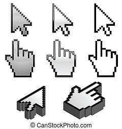 Set of cursor pointers - Cursor pointer collection in four...