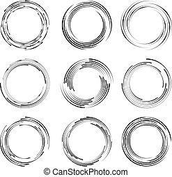 Set of curvy black speed lines. Round form