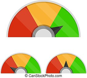 Set of customer satisfaction meter. Speedometer icons