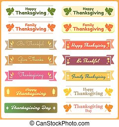 Set of cute and colorful thanksgiving banners in vector