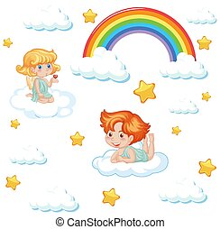 Set of cute angel with rainbow and star pattern