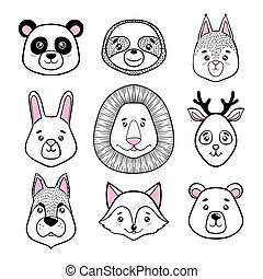 set of cute animal faces black, white. panda, sloth, squirrel, bunny, lion, deer, dog, fox, bear. scandinavian style. design holiday greeting cards, invitations, print, t-shirts, home decor, posters