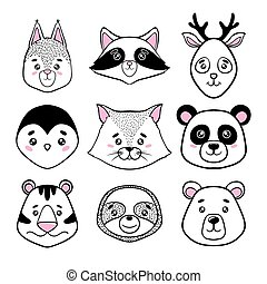 set of cute animal faces black, white. panda, sloth, squirrel, raccoon, penguin, kitty, tiger deer, bear in scandinavian style. design holiday greeting cards, invitations, print, t-shirts, home decor, posters