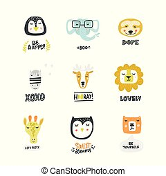 Set Of Cute Animal Icons