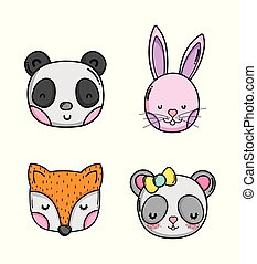 Set of cute animals cartoons
