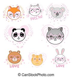 Set of cute animals face in funny glasses and with decorative elements. Vector illustration