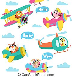 Set of cute animals flying on a airplanes hand drawn vector