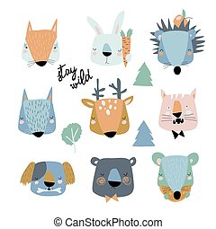 Set of cute animals heads on white background
