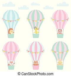 Set of cute animals in a hot air balloon. Vector