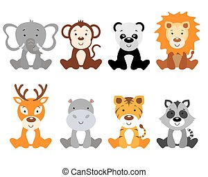 Set of cute animals