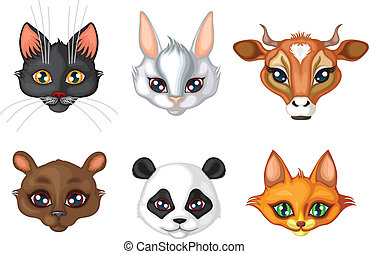 Set of cute animals muzzles