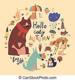 Set of cute animals with autumn elements. Hello autumn