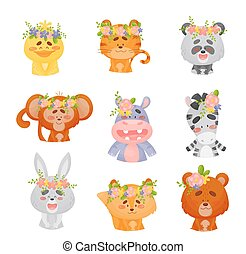 Set of cute animals with flowers on their heads. Vector illustration on a white background.