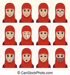 Set of cute arab woman emoticons.