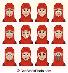 Set of cute arab woman emoticons.