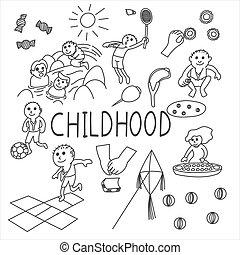Set of cute asian childhood