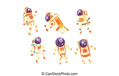Set of cute astronauts. Vector illustration on a white background.