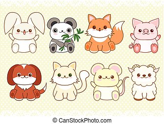 Set of cute baby animals in kawaii style - Collection of...