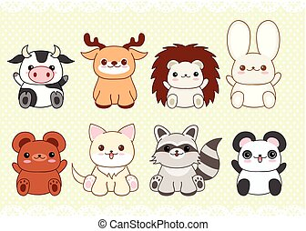 Set of cute baby animals in kawaii style