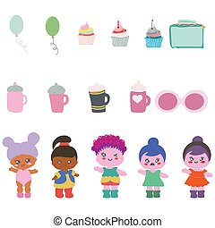 Set of cute baby dolls with balloons, cups, cupcakes, glasses.