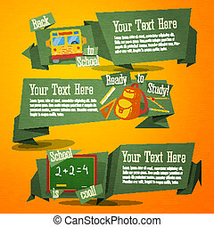 Set of cute back to school banners with bag, bus and handdrawn sum on chalkboard. With place for your advertisement text.