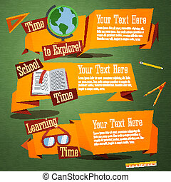 Set of cute back to school banners with globe, text book, glasses. With place for your advertisement text. Vector