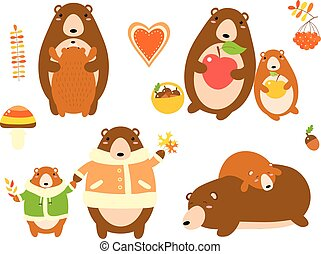 Set of cute bear with baby