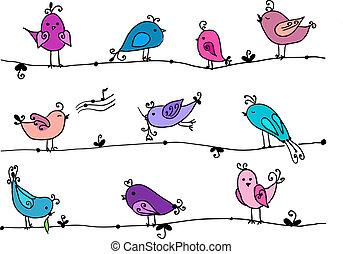 Set of cute birds in vector.