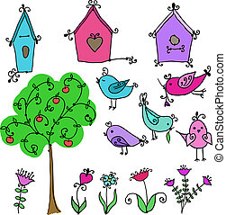 set of cute birds, tree