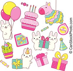 Set of cute Birthday party icons in kawaii style